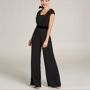 Eliza J Crepe & Chiffon Black Jumpsuit Sz 14